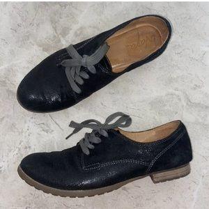 Naya Black Leather Tiber Oxford Flat Shoes